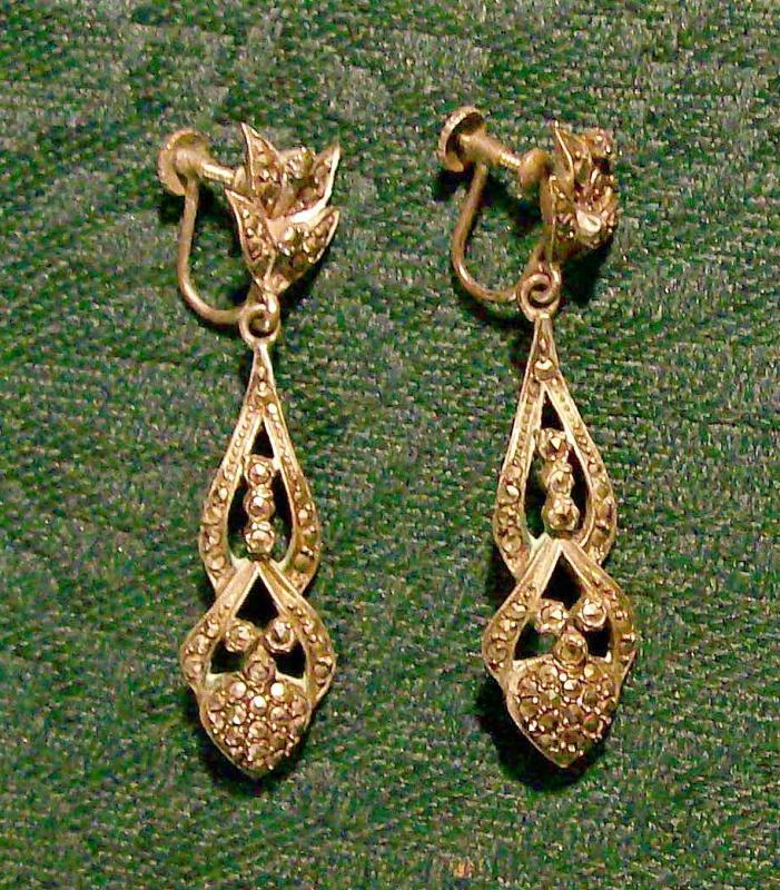 Sterling Silver & Marcasite Drop Earrings: 1920's- 30's Screw-Back 2