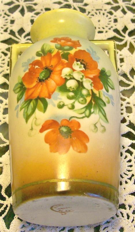 Czechoslovakian Ceramic Vase with Poppy Decal Ca. 1930's 5.25