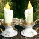 Florida Souvenir Ceramic Salt & Pepper Shakers Colonialware Flaming Candlesticks