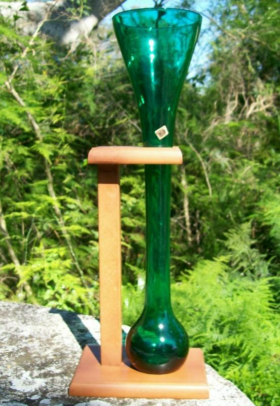 Half-Yard Ale/Beer Glass with Wooden Holder: Green Blown Italy