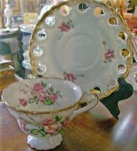 Fancy Porcelain Cup & Saucer: Pedestal Foot/Pierced Rim: Small Pink Roses/ Gold Trim