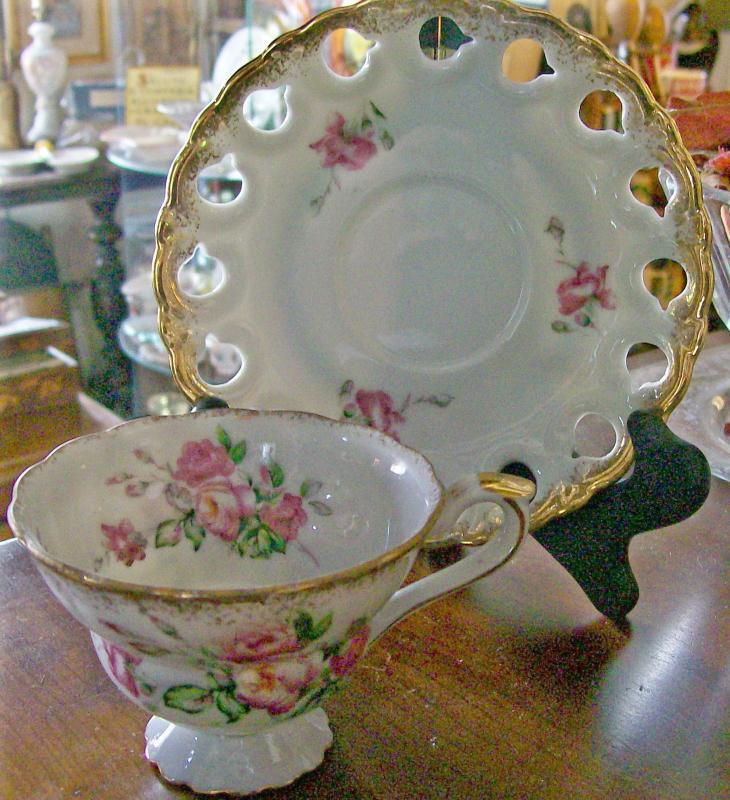 Fancy Porcelain Cup & Saucer: Pedestal Foot/Pierced Rim: Small Pink Roses/ Gold Trim