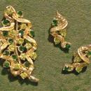 Coro Brooch & Earrings Set: Stylized Leaf with Green Stones/ Goldtone Setting