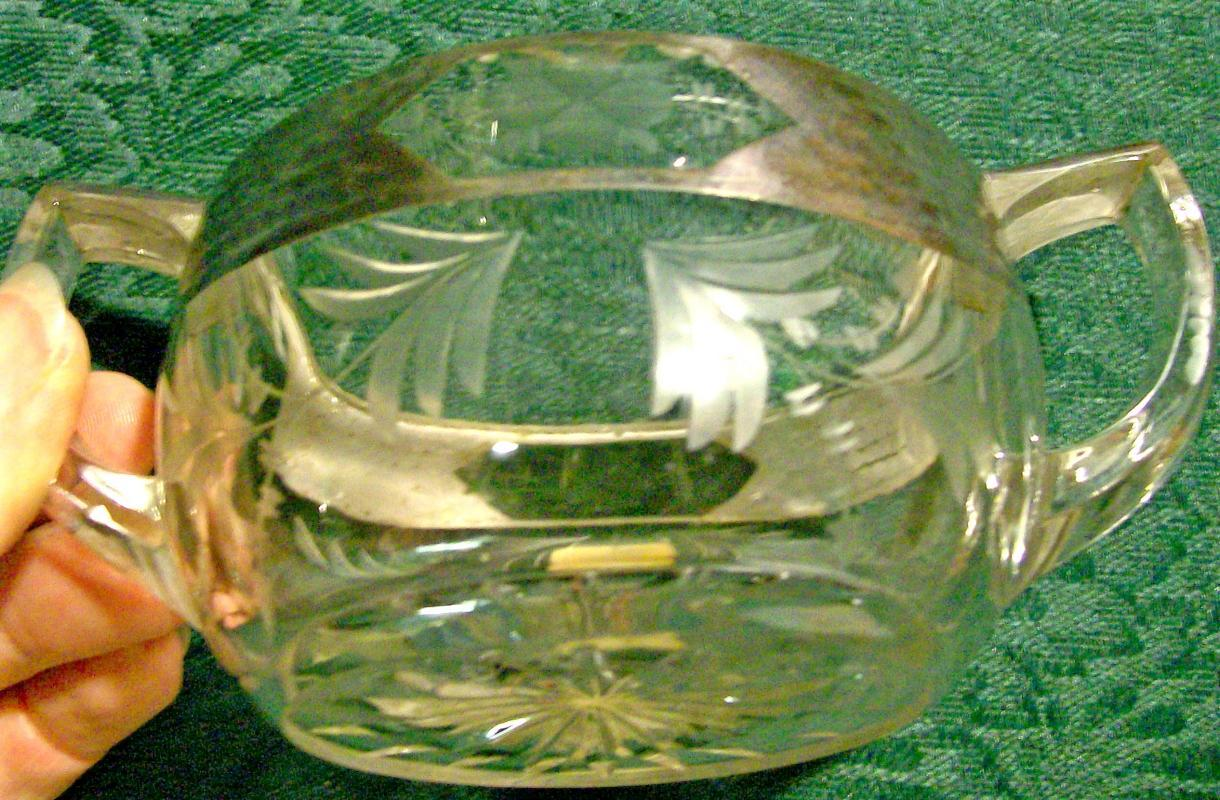 Silver Deposit Cut/Engraved Glass Open Sugar Arts & Crafts Sterling