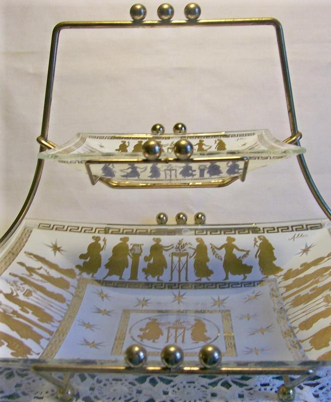 Aldon Bent-Glass Server:  Two-Tier with Greek Figures