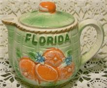 Florida Souvenir Syrup Pitcher with Lid: Embossed Oranges
