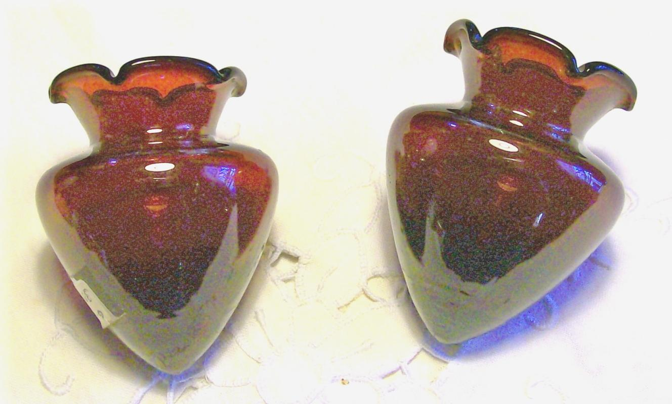 Ruby Red Glass Epergne Vase Pair: Early 1900's