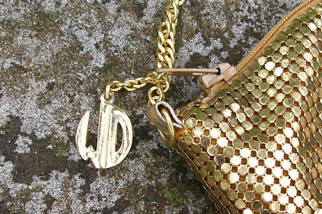 Whiting & Davis Gold Mesh Shoulder Bag with Chain Circa 1950's
