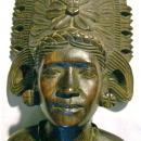 Tropical Hardwood Carving: Bust of Woman with Headdress
