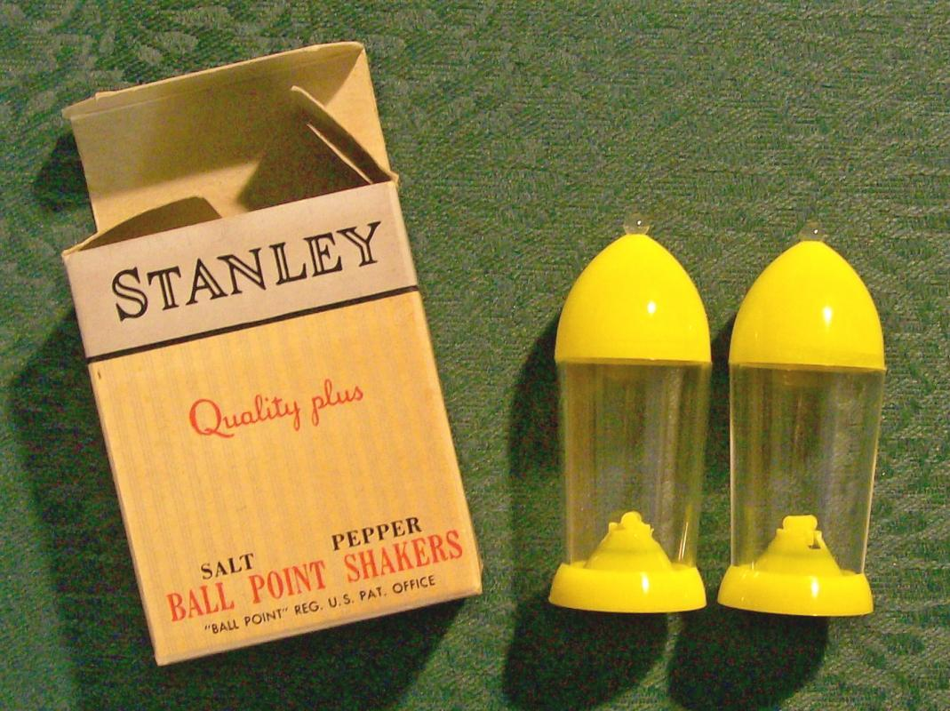 Stanley Ball Point Salt & Pepper Shakers with Box: 1950's Plastic