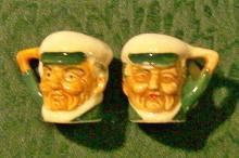 Miniature Toby-style Ceramic Salt & Pepper Shakers: 1930's Japan