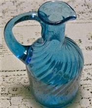 Midwestern Swirled 20 Rib Blown Glass Cruet:  Early 1800's Blue
