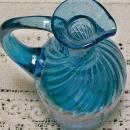 Midwestern Swirled 20 Rib Blown Glass Cruet:  Early 1800's Blue