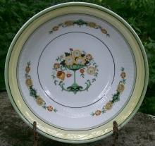 Bavarian Art Nouveau/Deco Ceramic Bowl Flower Comport Center with Green & Yellow  Luster Trim
