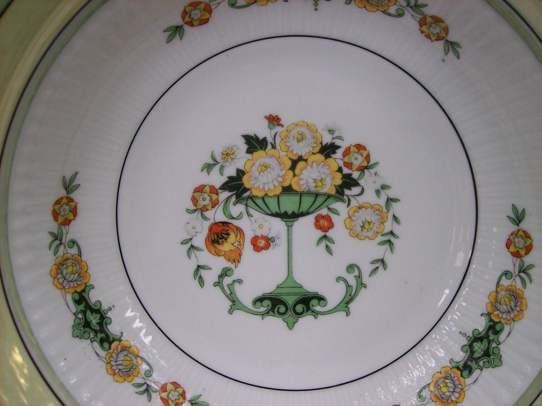 Bavarian Art Nouveau/Deco Ceramic Bowl Flower Comport Center with Green & Yellow  Luster Trim