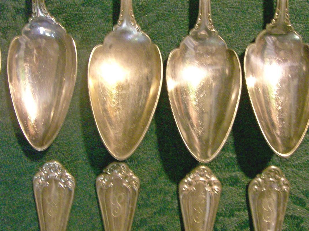 Wallace Astoria Silver-Plate Orange Spoon Set of 10 Ca. 1898 Monogram S
