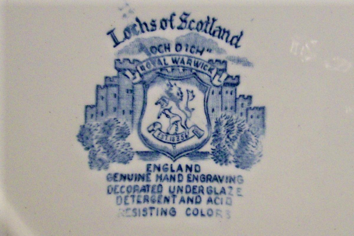 Royal Warwick Lochs of Scotland Ceramic Plate Set of 6 Blue & White 9.75