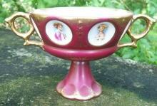 Royal Sealy Cameo Portrait 2-Handled Ceramic Compote 1950's Burgundy/MOP Luster
