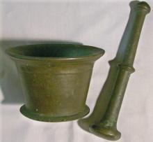 Bronze Mortar & Pestle Set 1800's Apothecary