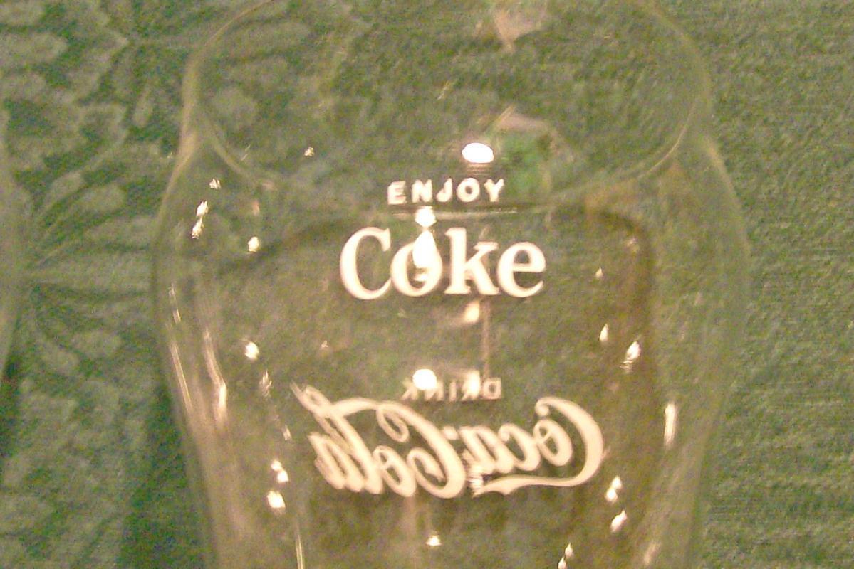 Coca-Cola Advertising Glass Tumbler Pair 1940's-60's Soda Fountain