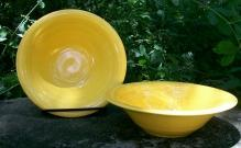 Laughlin Harlequin 36s Oatmeal Bowl Older Yellow Ceramic 6.5