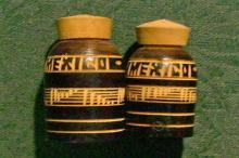 Mexico Souvenir Chip-Carved Wooden Salt & Pepper Shakers 2 Pair