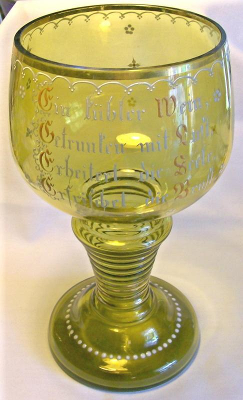 German Roemer Blown Glass Goblet with Enamel Phrase/Decoration 10