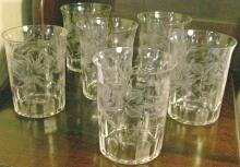 Cut/Engraved Glass Tumblers Set of 6 Ca. 1880's