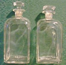 Cut Crystal Decanter Pair Ca. 1900 Clear Barware