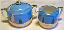 Noritake Art Deco Ceramic Cream & Sugar Set Blue/Orange Luster Ca. 1930