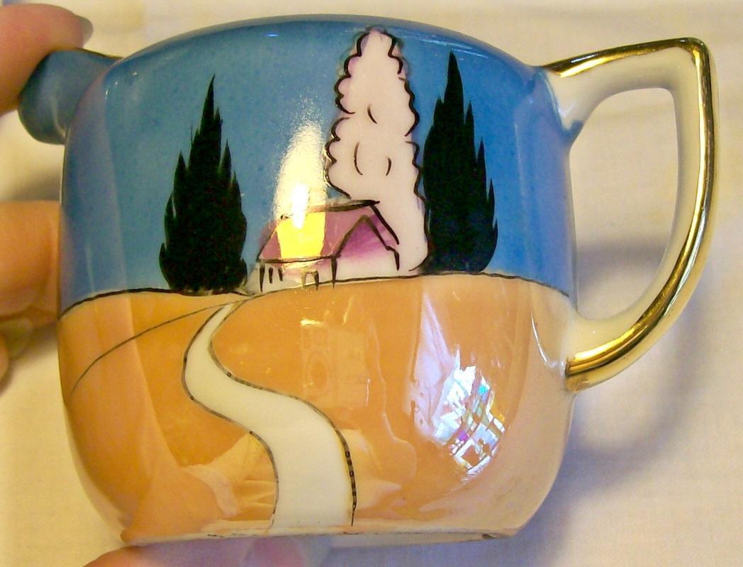Noritake Art Deco Ceramic Cream & Sugar Set Blue/Orange Luster Ca. 1930