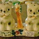 Puppy Dog Ceramic Salt & Pepper Shakers with Tray Ca. 1930's