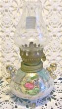 Miniature Ceramic Oil Lamp Luster-ware/ Romantic Couple 1950's Japan