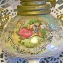 Miniature Ceramic Oil Lamp Luster-ware/ Romantic Couple 1950's Japan