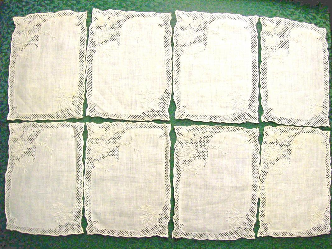 Linen & Lace Embroidered Cocktail Napkin Set of 8 Cream on Cream
