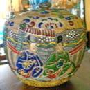 Japanese Satsuma Moriage Ceramic Jar & Lid Warlords 1850's-60's Tobacco or Tea