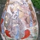 Japanese Satsuma Ceramic Bottle Vase with Students Late 1800's Marked 8.25
