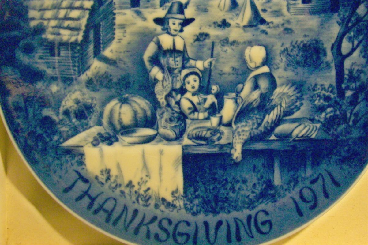 Bareuther Thanksgiving 1971 Limited First Edition Ceramic Plate Blue & White