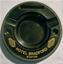 Hotel Bradford Black Bakelite Advertising Ashtray Boston 1930+