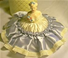 Pin Cushion Doll with Original Box Blue & White Satin 1930's-50's