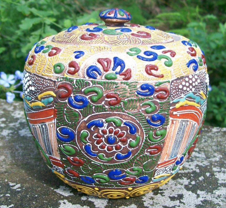 Japanese Satsuma Moriage Ceramic Jar & Lid Warlords 1850's-60's Tobacco or Tea