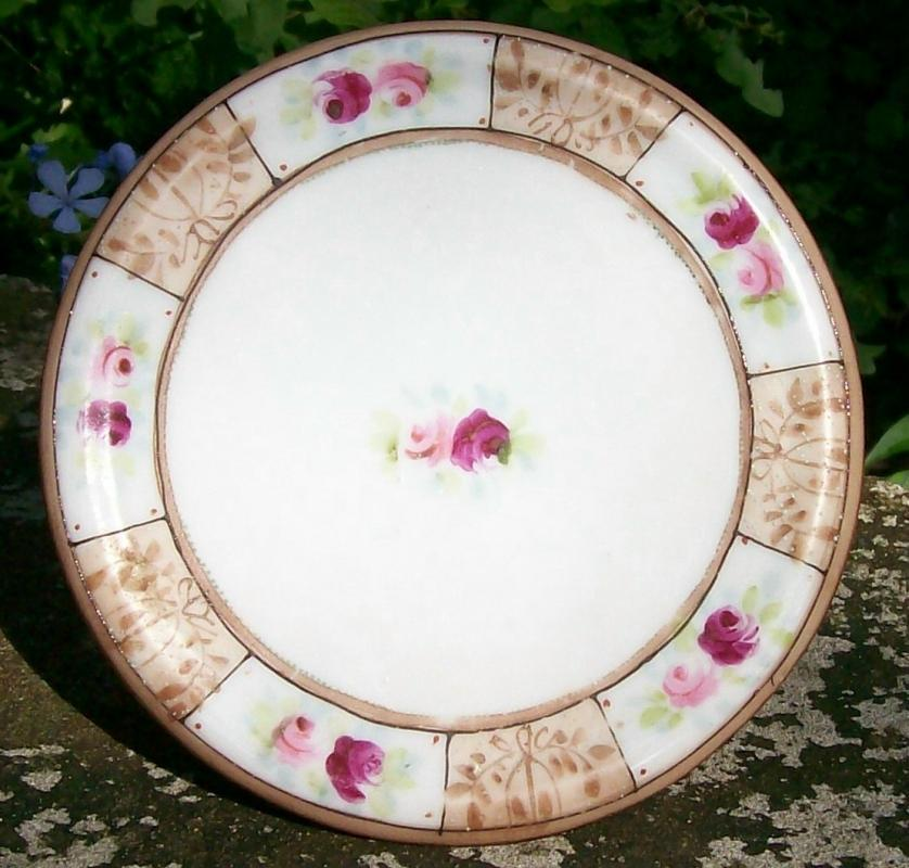 Noritake Nippon Ceramic Tea Tile/Trivet Pink & Red Roses Brown Trim