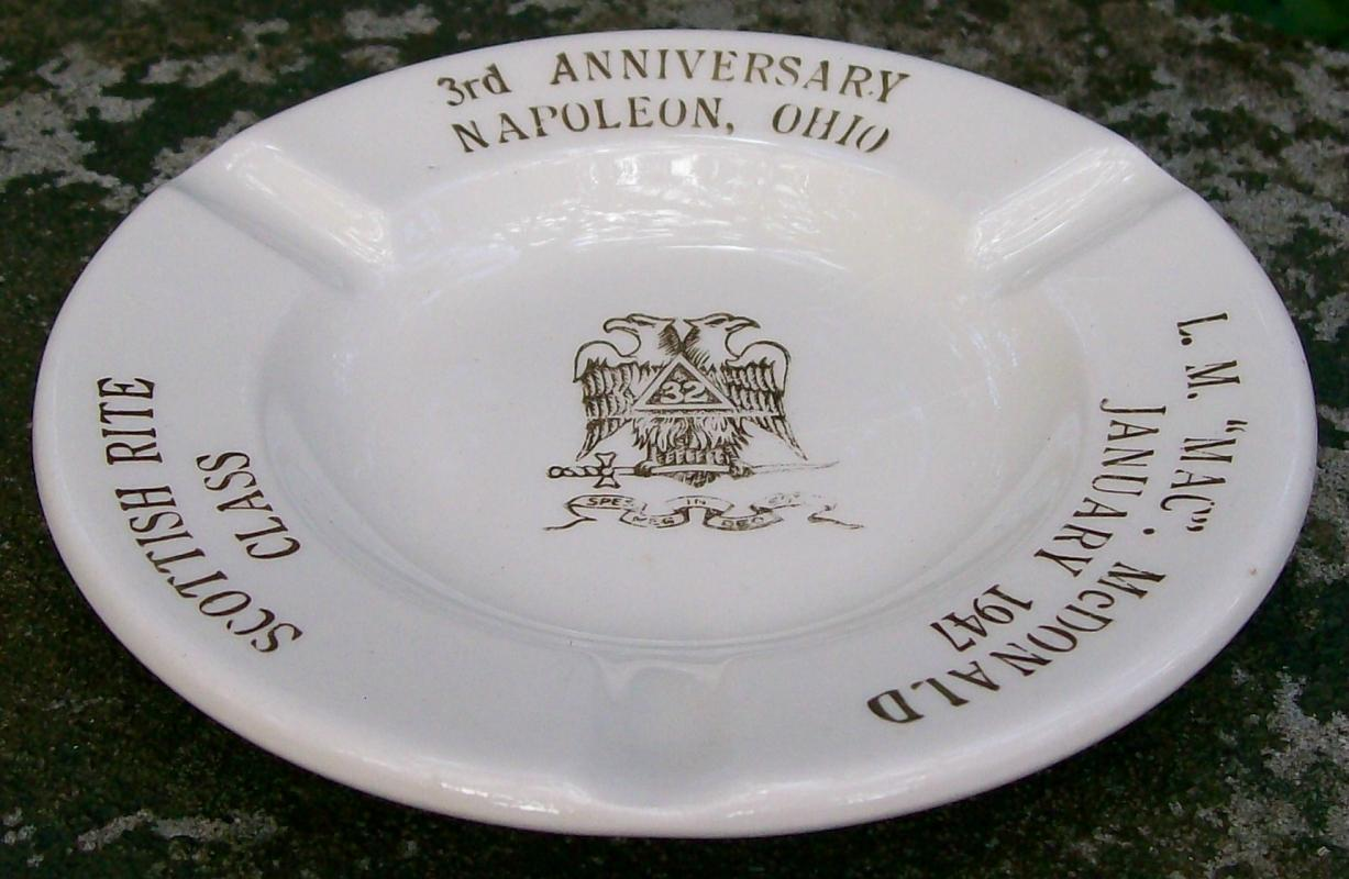 Masonic Commemorative Ceramic Ashtray Napoleon Ohio Ca. 1947