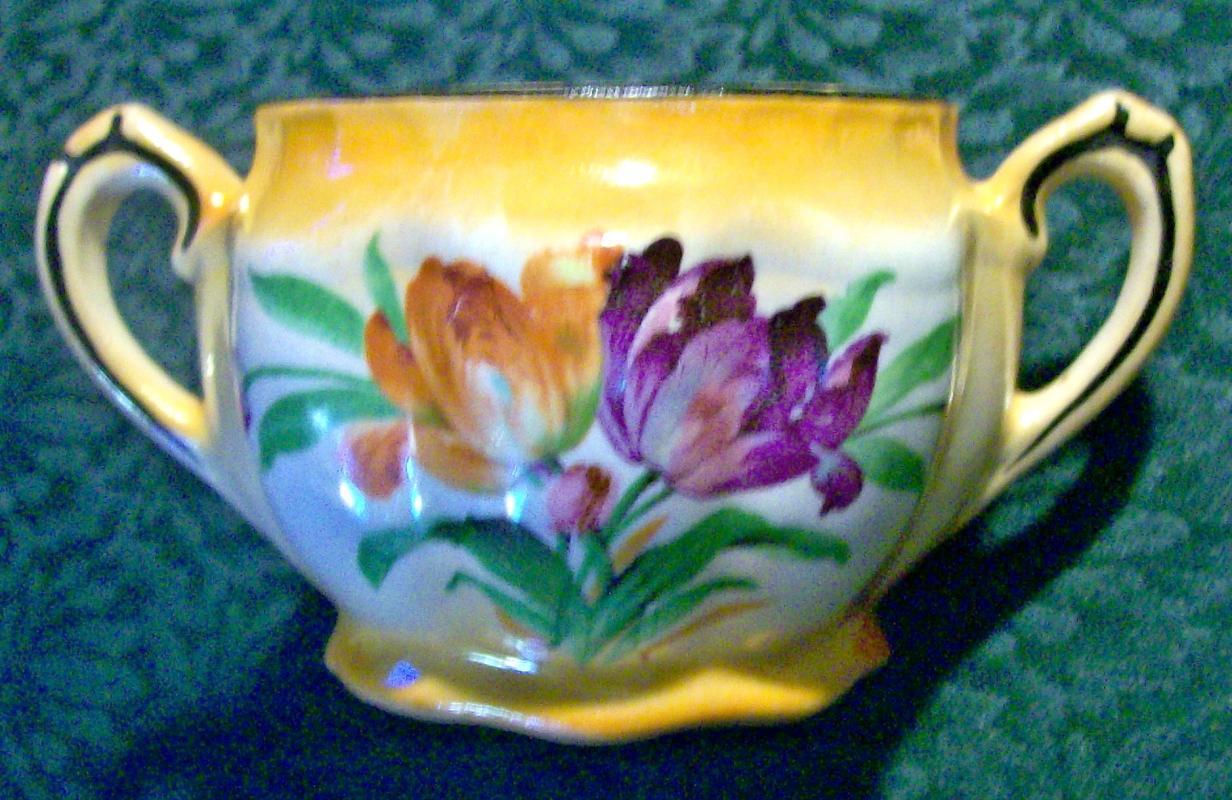 Czechoslovakian Art Deco Tulip Ceamic Sugar Bowl Bottom  Ca. 1930's NO LID