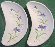Ironstone Ceramic Bone Dish Pair Hand-Painted Blue Cornflowers