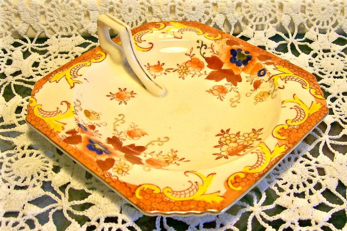 Ceramic Lemon Server 1930's Japan Hand-Painted Flowers Over Red Stencil