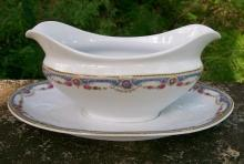 Bloch & Co. Czech Ceramic Gravy with Attached Tray 1923-40