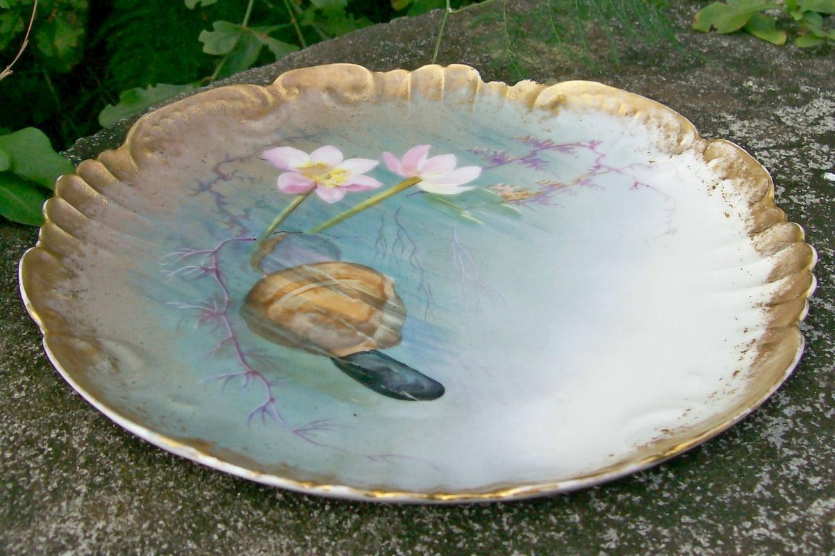 Klingenberg Limoges Porcelain Clam Plate Hand-Painted Late 1800's 9