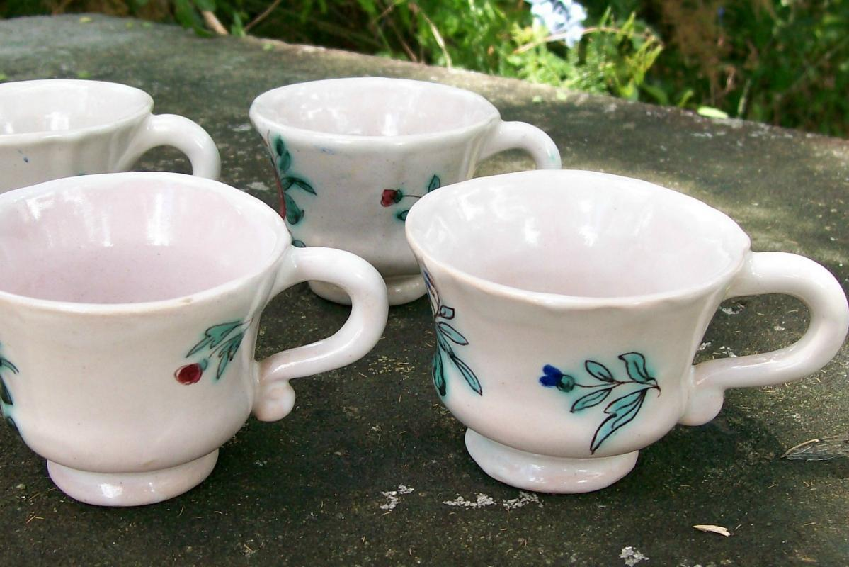 Deruta Italy Faience Ceramic Demitasse Cup Set/6 HP Floral