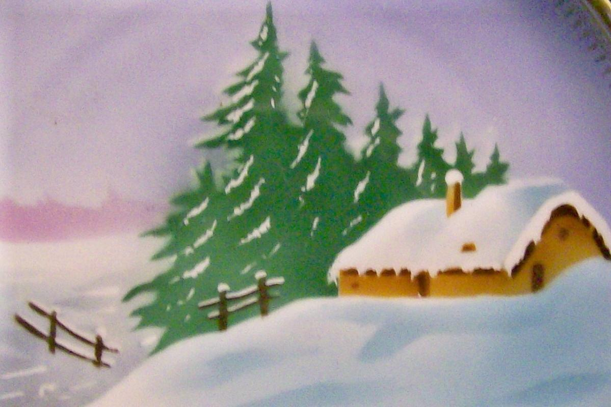 Tielsch Silesia Ceramic Plate Hand-Painted Cabin/Snow Scene 8 3/8
